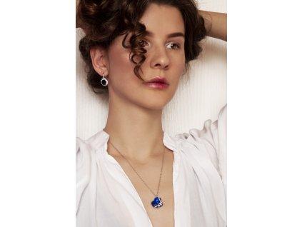 Stříbrný řetízek srdce blue OLIVIE.CZ