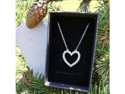 Stříbrný řetízek  SRDCE - dárek pro ženu srdíčko
