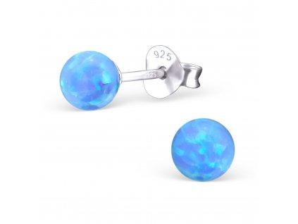Stříbrné kuličky s modrým opálem , náušnice od OLIVIE