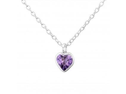 Dětský stříbrný řetízek srdce violet OLIVIE.CZ