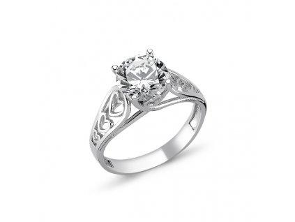 stříbrný prstýnek se srdíčky a zirkonem od OLIVIE