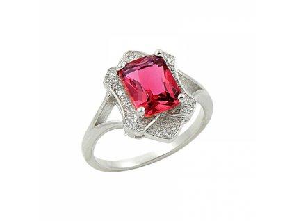 Stříbrný prsten s červeným zirkonem