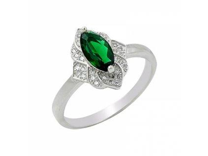 Stříbrný prsten se zeleným zirkonem
