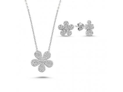 1392 Sada stříbrných šperků KVÍTEK  Ag 925; ≤3,20 g.