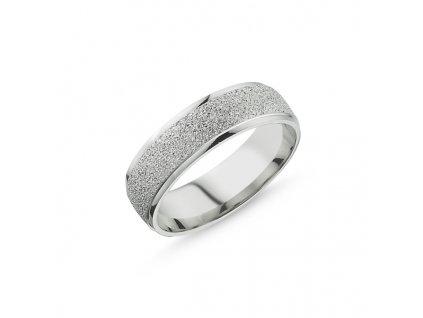 Snubní pískovaný stříbrný prsten