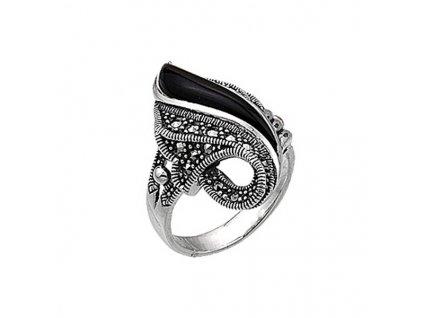Masivní stříbrný prsten MARCASITE