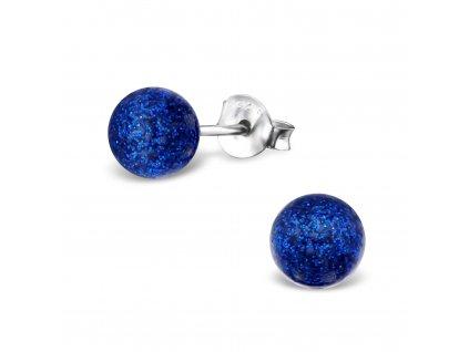 Stříbrné náušnice GLITTER DARK BLUE