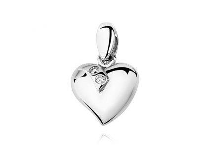 Stříbrný přívěsek SRDÍČKO se dvěma zirkony od OLIVIE. Dárek z lásky.