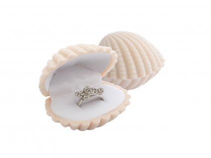 Dárková sametová krabička MUŠLE na prsten nebo náušnice