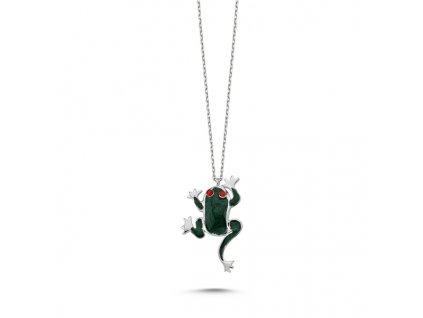 Stříbrný řetízek zelená žába