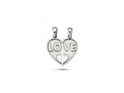 Stříbrný přívěsek SRDCE PRO DVA LOVE