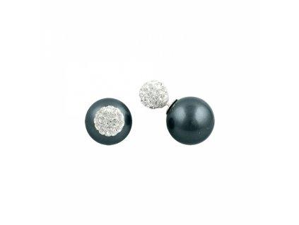 Stříbrné dvojité náušnice s PERLOU A ZIRKONY