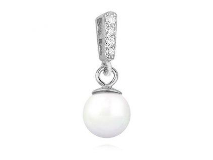 Stříbrný perlový přívěsek se zirkony