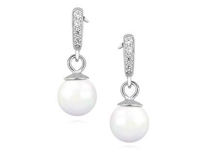 Stříbrné perlové náušnice se zirkony