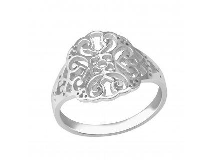 Stříbrný vzorovaný prsten