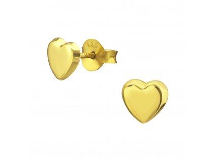 Stříbrné náušnice SRDÍČKO GOLD