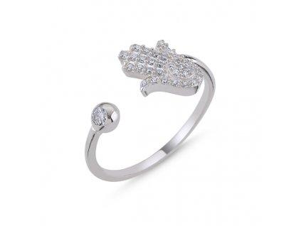 Hamsa - stříbrný prsten, nastavitelná velikost
