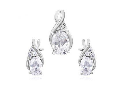 Elegantní sada stříbrných šperků se zirkony