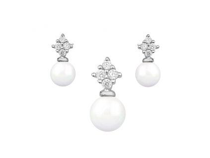 Stříbrná perlová souprava se zirkony