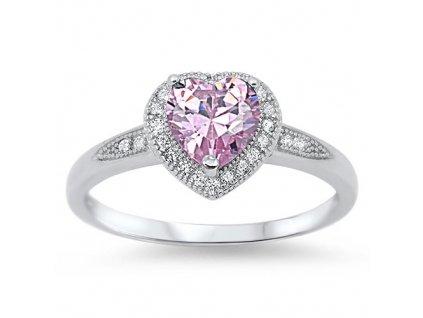 Stříbrný prsten RŮŽOVÉ SRDCE