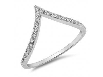 Stříbrný prsten ŠIPKA se zirkony