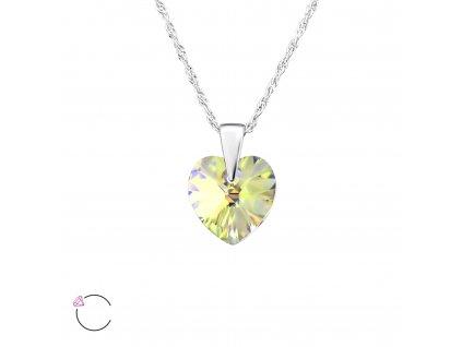 Stříbrný náhrdelník SRDCE Swarovski AB