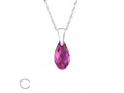 Stříbrný náhrdelník SLZA Swarovski FUCHSIA