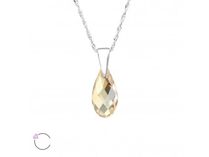 Stříbrný náhrdelník SLZA Swarovski ZLATÝ STÍN