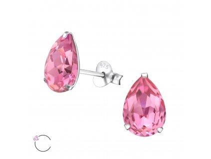 Stříbrné náušnice s krystalem ROSE Swarovski