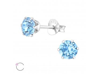 Stříbrné náušnice se Swarovski krystalem AQUA