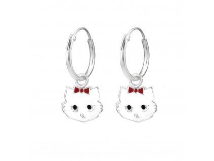 Dětské stříbrné náušnice kočka