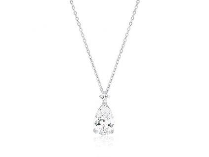 Stříbrný náhrdelník se zirkonem SLZA