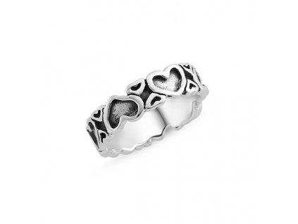 Stříbrný srdíčkový prsten