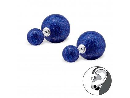 Stříbrné oboustranné náušnice modré