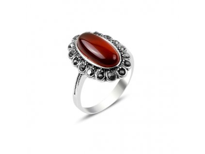 Masivní stříbrný prsten HEMATIT