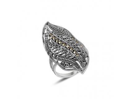 Dlouhý masivní stříbrný prsten MARKAZIT