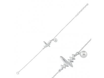 Stříbrný náramek TLUKOT SRDCE s perličkou