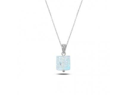 Stříbrný řetízek LEDOVÁ KOSTKA modrá