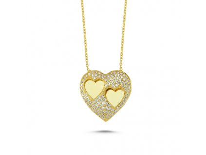 Stříbrný náhrdelník ZLATÉ SRDCE