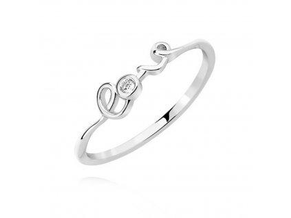 Stříbrný prsten LOVE se zirkonem