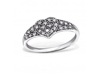 stříbrný prsten keltské srdce se zirkony oxidováno, krásný dárek pro ženu, partnerku