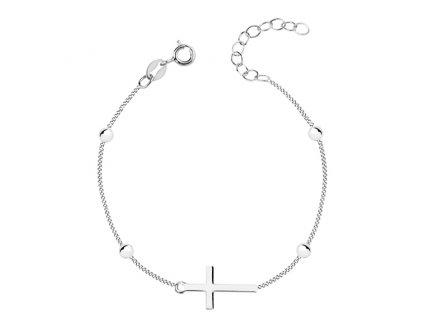 Stříbrný náramek s křížkem a kuličkami