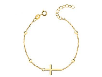 Stříbrný náramek GOLD s křížkem a kuličkami, pozlacený