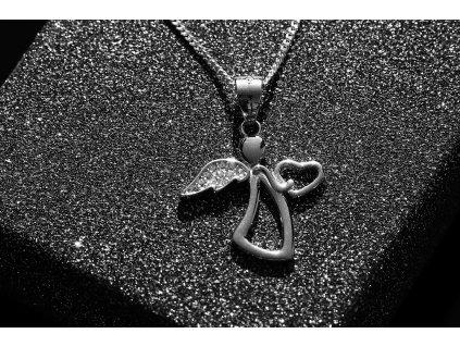 Stříbrný náhrdelník ANDĚL se srdíčkem včetně řetízku