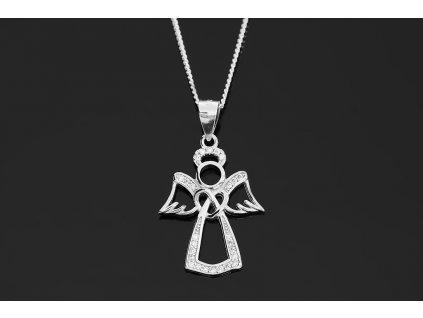 Stříbrný náhrdelník ANDĚL se zirkony 45 cm