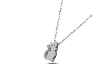 Stříbrný náhrdelník KOČKA se Swarovski krystaly
