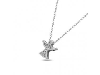 Stříbrný náhrdelník ANDĚL se Swarovski krystaly