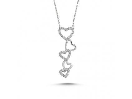 Stříbrný srdíčkový náhrdelník