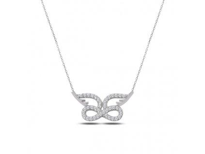 Stříbrný náhrdelník NEKONEČNO S KŘÍDLY