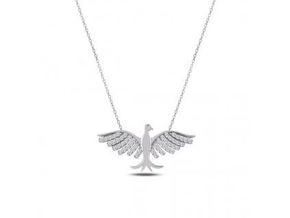 Stříbrný náhrdelník PTÁK